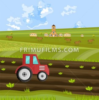 Tractor is processing the earth at the farm Vector illustration - frimufilms.com
