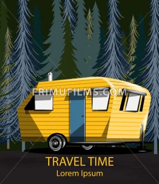 Travel car in the forrest Vector. Yellow Camping trailer into the woods at night - frimufilms.com