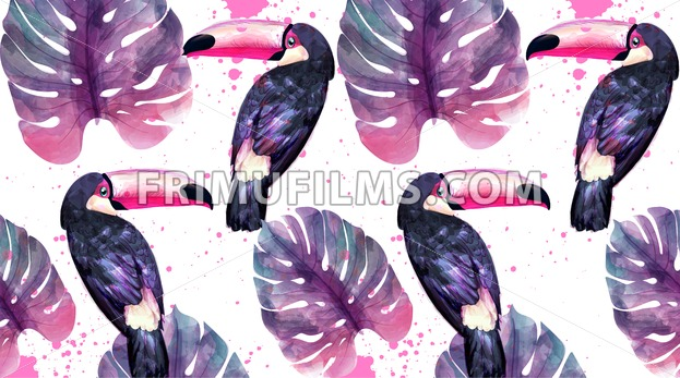 Tropical paradise with watercolor parrots and palm leaves background Vector. ultra violet trendy color - frimufilms.com