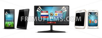Tv screen and smartphone with football match Vector realistic. Sports betting online. Gadgets isolated on white - frimufilms.com