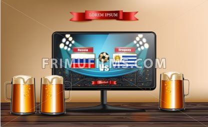 Tv screen with football match Vector realistic. Beer mugs on wooden table - frimufilms.com