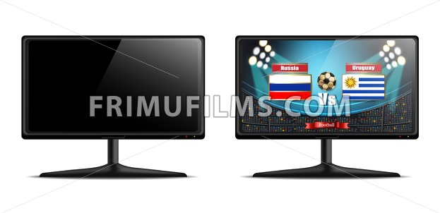 Tv screen with football match Vector realistic. isolated on white - frimufilms.com