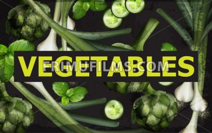 Vegetables background Vector. Green veggie organic illustration - frimufilms.com