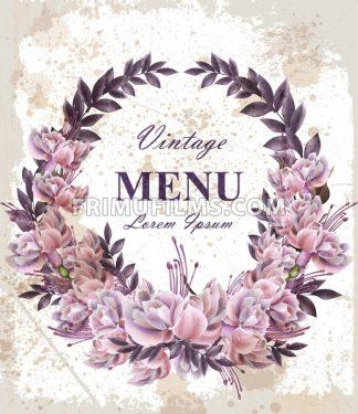 Vintage Wedding card with roses wreath Vector. Beautiful flowers garland. Invitation elegant decor realistic 3d illustration - frimufilms.com