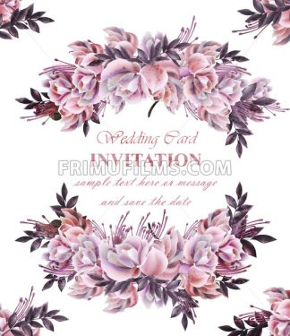 Vintage Wedding card with roses wreath Vector. Beautiful flowers garland. Invitation elegant decor realistic 3d illustration - frimufilms.com