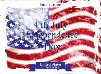 Vintage american flag Happy Independence day Vector. 4th of july old postcard - frimufilms.com