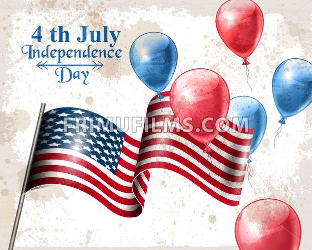 Vintage american flag Happy Independence day Vector. Balloons in the air for 4th of july. old postcard background - frimufilms.com
