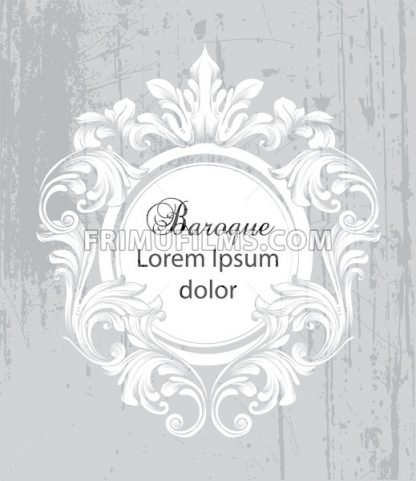 Vintage baroque frame card Vector. Detailed rich ornament illustration graphic line art - frimufilms.com