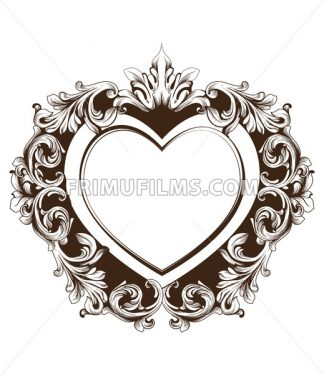 Vintage baroque frame heart shape card Vector. Detailed rich ornament illustration graphic line art - frimufilms.com