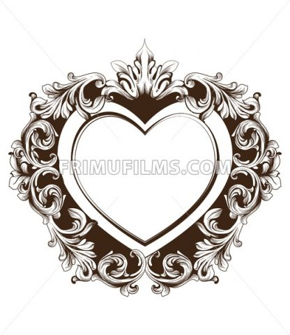 Vintage baroque frame heart shape card Vector. Detailed rich ornament illustration graphic line art - frimufilms.com