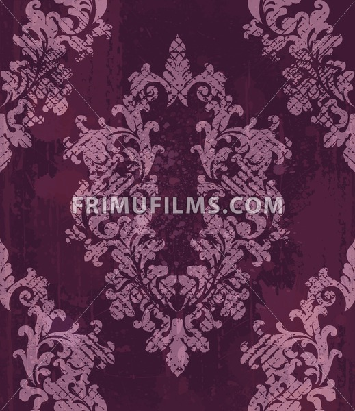 Vintage baroque pattern background Vector. Rich imperial decors on grunge texture. Royal victorian texture burgundy trendy color - frimufilms.com
