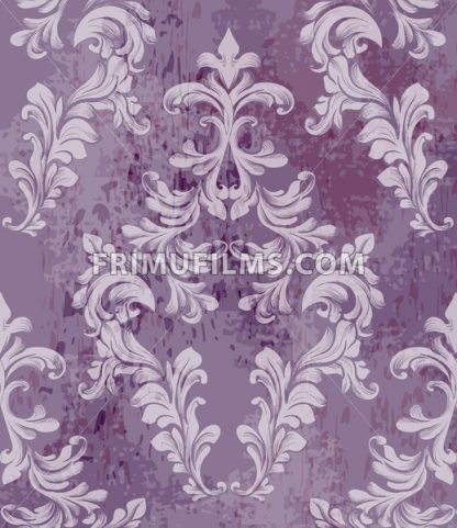 Vintage baroque pattern background Vector. Rich imperial decors on grunge texture. Royal victorian texture lavender trendy color - frimufilms.com