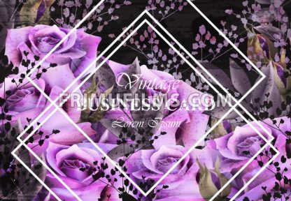 Vintage card with roses Vector. Realistic stylish purple roses. Business card template - frimufilms.com