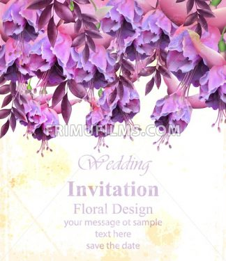 Vintage floral banner or greeting card . Birthday or wedding invitation with botanical decor - frimufilms.com
