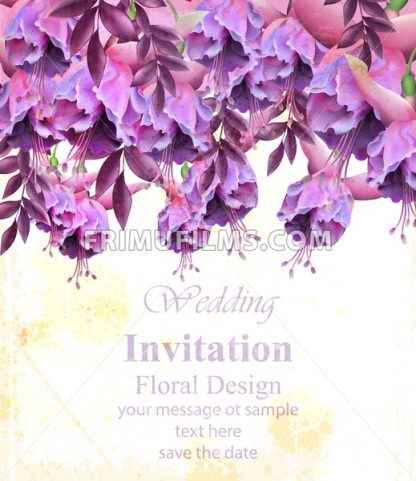 Vintage floral banner or greeting card . Birthday or wedding invitation with botanical decor - frimufilms.com