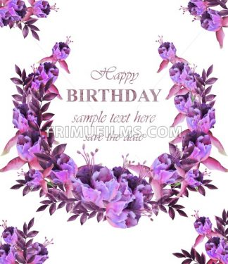 Vintage floral garland card . Birthday or wedding invitation with botanical decor - frimufilms.com
