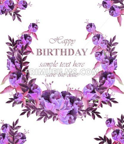 Vintage floral garland card . Birthday or wedding invitation with botanical decor - frimufilms.com
