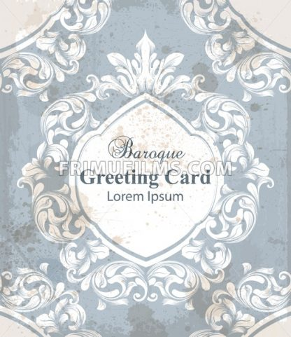 Vintage greeting card with baroque ornamented background Vector. Old effect texture decor - frimufilms.com