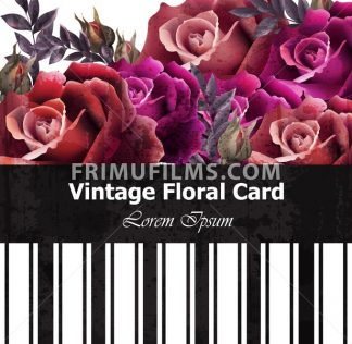 Vintage realistic roses floral card. Beautiful background. Retro design graphic styles template - frimufilms.com