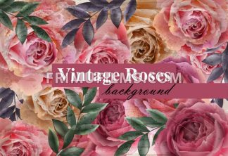 Vintage roses background Vector. Floral card retro decor. Wedding invitation or spring party card - frimufilms.com