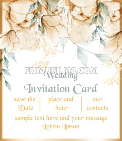 Watercolor flowers blossom card Vector. Vintage floral greeting card. Summer bouquets beige delicate color - frimufilms.com
