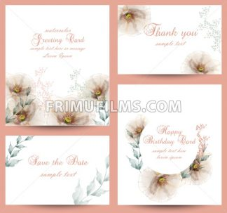 Watercolor flowers blossom card set Vector. Vintage greeting cards, wedding invitation, thank you postcard. Summer floral decoration bouquet - frimufilms.com