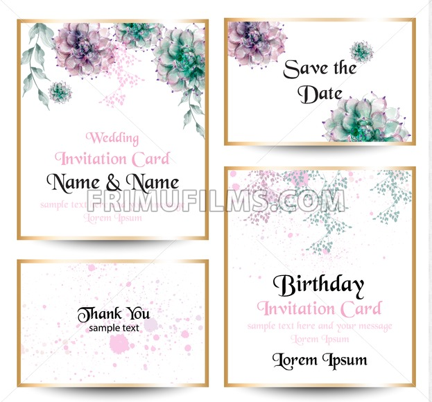 Watercolor Flowers Blossom Card Set Vintage Greeting Cards Wedding Invitation Thank You Postcard Summer Floral Vector Flower Decoration Bouquet