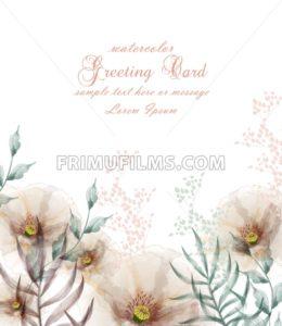 Watercolor flowers frame blossom card Vector. Vintage floral wedding invitation card. Summer decor bouquet - frimufilms.com