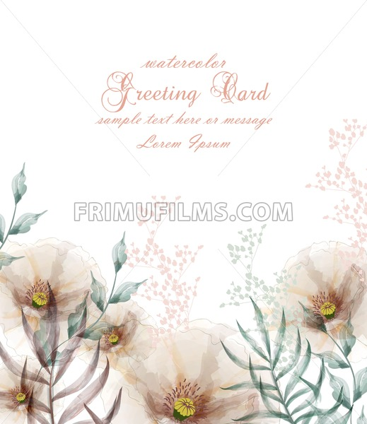 Watercolor Flowers Frame Blossom Card Vector Vintage Floral Wedding Invitation Card Summer Decor Bouquet