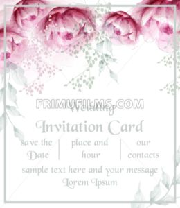Watercolor peony flowers frame blossom card Vector. Vintage floral wedding invitation card. Summer peonies bouquet - frimufilms.com