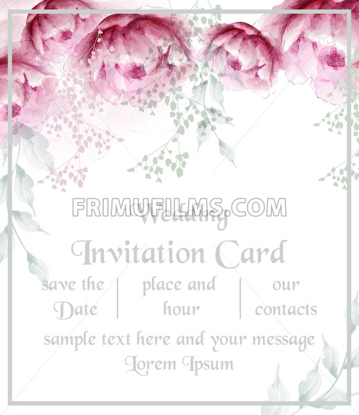 Watercolor Peony Flowers Frame Blossom Card Vector Vintage Floral Wedding Invitation Card Summer Peonies Bouquet