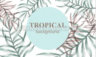 Watercolor tropic palm leaves Vector. Summer extotic background - frimufilms.com