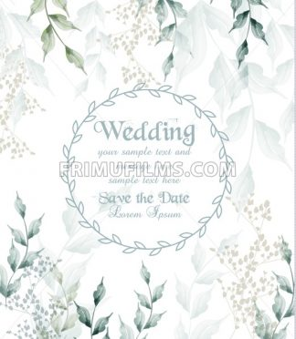 Wedding card round frame watercolor green leaves Vector illustration - frimufilms.com
