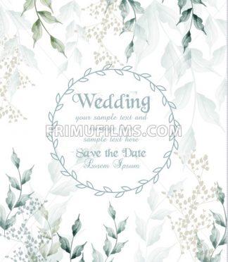Wedding card round frame watercolor green leaves Vector illustration - frimufilms.com