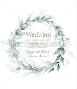 Wedding card watercolor green leaves wreath Vector illustration - frimufilms.com