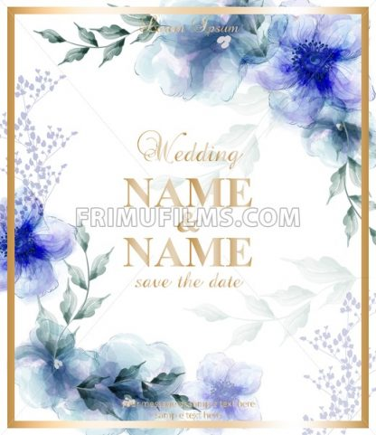 Wedding card with watercolor blue flowers Vector illustration. Beauty floral decor - frimufilms.com