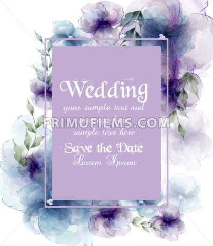 Wedding card with watercolor flowers Vector illustration - frimufilms.com