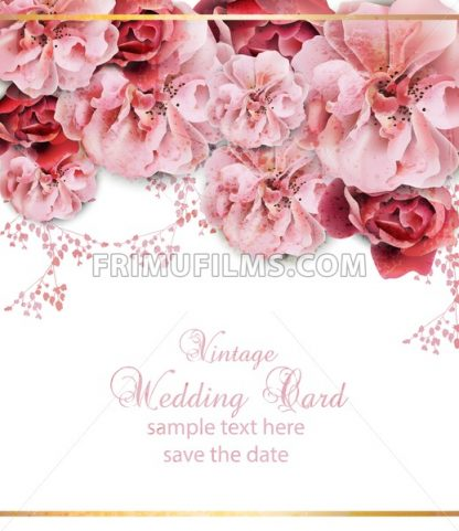 Wedding invitation with floral design Vector. Vintage Beautiful flowers poster. Trendy pink pastelate color - frimufilms.com