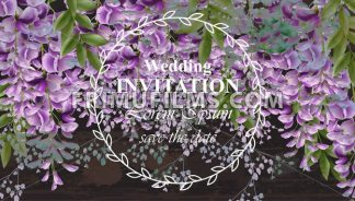 Wisteria flowers Wedding invitation card Vector. Gorgeous nature beauty design decoration - frimufilms.com