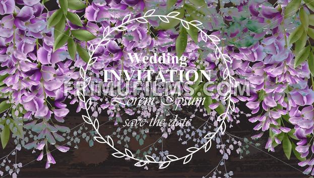 Wisteria flowers Wedding invitation card Vector. Gorgeous nature beauty design decoration - frimufilms.com