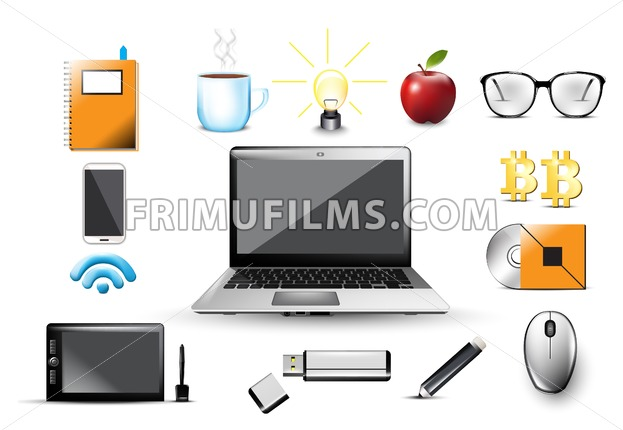 Work space Vector. Computer, usb, notebook, glasses, office tools elements Icons template illustration - frimufilms.com
