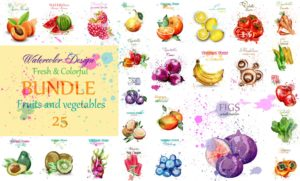 Fresh fruits and vegetables set collection Vector. Big bundle with watermelon, figs, avocado and more. Watercolor hand drawn illustration
