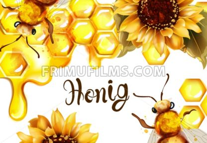 Honeycomb banner watercolor illustration. sunflower and bees Vector template - frimufilms