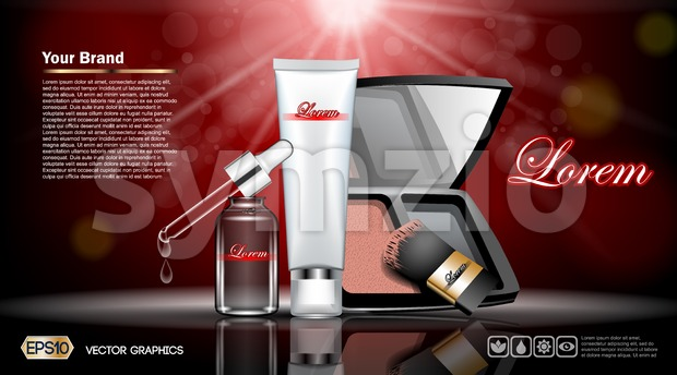 Digital vector red and silver skin care cream, eyedropper, foundation, mirror cosmetic container set mockup, your brand, print ads or magazine design. Stock Vector
