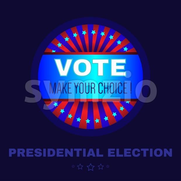 Digital vector usa election with make your choise, presidential election vote, blue flat style Stock Vector