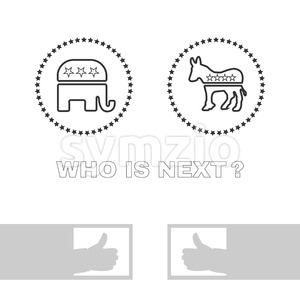 Digital vector usa election with who is next, republican or democrat party, silver flat style Stock Vector