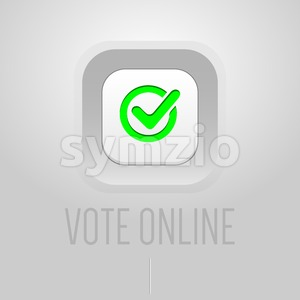 Digital vector usa election with vote online button checkbox, mobile phone in hand, silver flat style Stock Vector