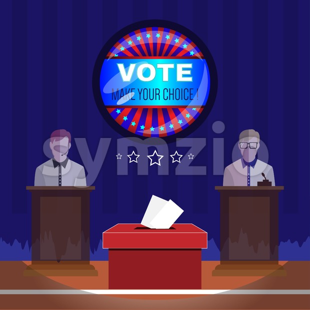 Digital vector usa election with vote box, candidate tribune and make your choise, flat style Stock Vector
