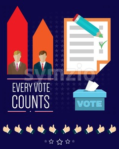 Digital vector usa election with vote box, every vote counts and candidate charts, flat style Stock Vector