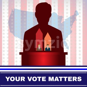 Digital vector usa election candidate tribune, your vote matters, flat style Stock Vector